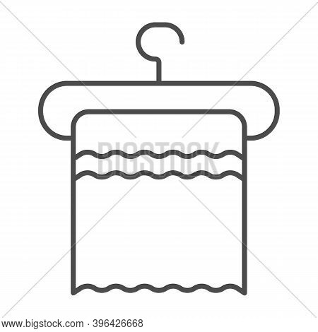 Towel On A Hanger Thin Line Icon, Hygiene Routine Concept, Clean Hygiene Cotton Textile Sign On Whit