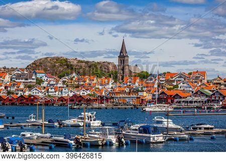 Fjallbacka, Sweden - May 26, 2016: Swedish fishing village Fjällbacka on the West coast in Bohuslan. The town is a popular summer tourist resort