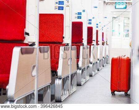 Red Luggage Bag Put On Walkway Beside Passenger In Second Class Sleeper Cabin Of Thai New Express Tr