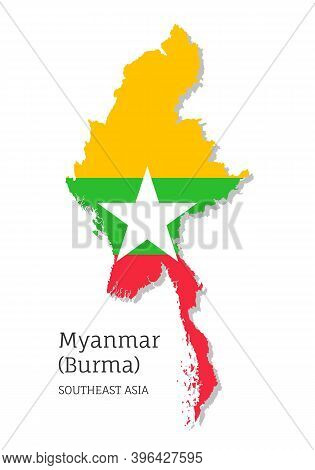 Map Of Myanmar With National Flag. Highly Detailed Editable Map Of Burma, Southeast Asia Country Ter