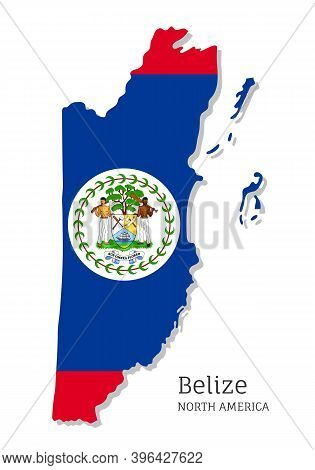 Map Of Belize With National Flag. Highly Detailed Editable Map Of Belize, North America Country Terr