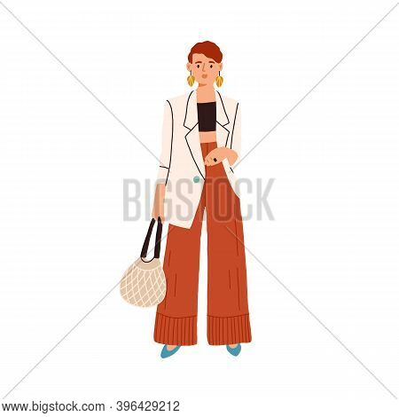 Fashion Casual Outfit. Modern Woman Wearing Trendy Clothes. Fashionable Look Of Stylish Female Chara