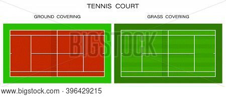 Tennis Court Top View. Grass And Ground Covering. Outdoor Tennis Court. Sports Ground For Active Rec