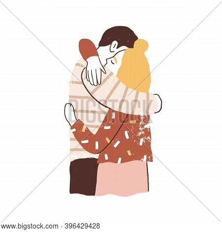 Couple Hugging. Man And Woman Embracing Tenderly. Family Reunion Concept. Two Young People Support H