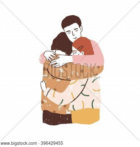Family Reunion Concept. Parents And Kid Embracing Each Other. Supporting Happy Healthy Relationships