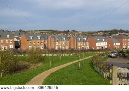 Grantham, England - November 23, 2020. Bellway Homes New Builds And Developments On The Outskirts Of
