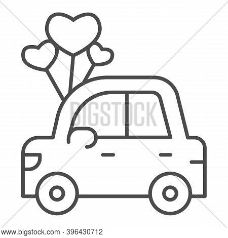 Car With Heart Shaped Balloons Thin Line Icon, Valentine Day Concept, Auto With Love Sign On White B