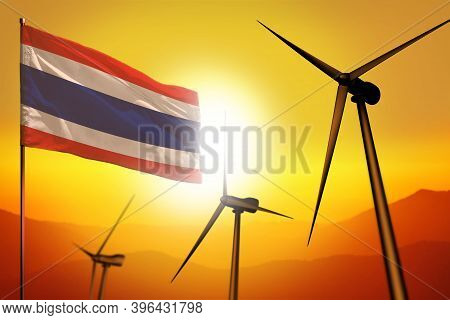 Thailand Wind Energy, Alternative Energy Environment Concept With Turbines And Flag On Sunset - Alte