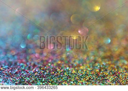 Multicolored Glitter Macro Texture With Shining Bokeh.wallpaper Phone Shining Glitter. Christmas Bac