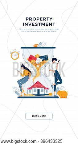 Property Investment Banner. Man And Woman Purchase House, Await For Generating Profit From Long-term
