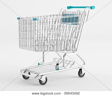 Empty Shopping Cart On A White Background