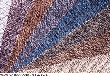 Sample Of Velvet Textile Brown And Gray Colors, Background. Catalog And Palette Tone Of Interior Fab