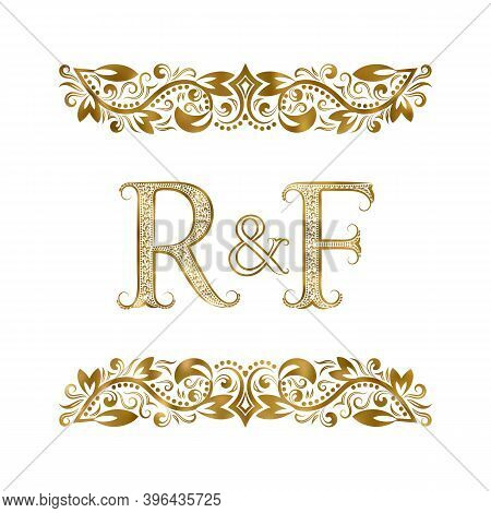 R And F Vintage Initials Logo Symbol. The Letters Are Surrounded By Ornamental Elements. Wedding Or