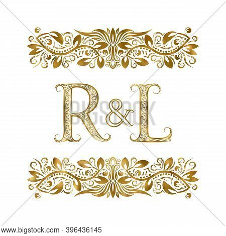 R And L Vintage Initials Logo Symbol. The Letters Are Surrounded By Ornamental Elements. Wedding Or