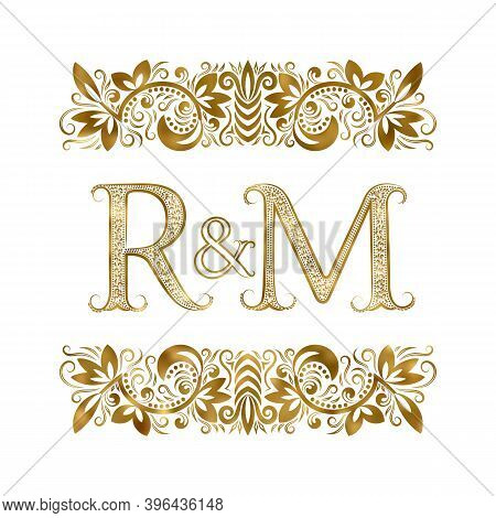 R And M Vintage Initials Logo Symbol. The Letters Are Surrounded By Ornamental Elements. Wedding Or