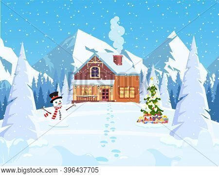 Suburban House Covered Snow. Building In Holiday Ornament. Christmas Landscape Tree, Snowman. New Ye