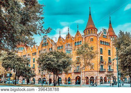 Barcelona, Spain - September 04: Casa De Les Punxes Or Casa Terrades In Barcelona, Spain On Septembe