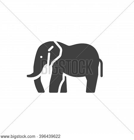 Elephant Side View Vector Icon. Filled Flat Sign For Mobile Concept And Web Design. Elephant Animal
