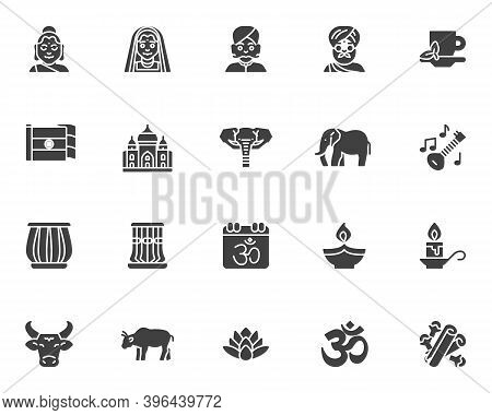 Indian Culture Vector Icons Set, Modern Solid Symbol Collection, Filled Style Pictogram Pack. Signs,