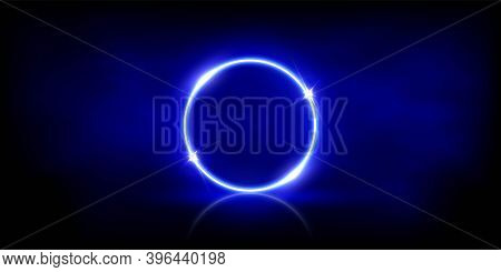 Glowing Neon Blue Circle With Sparkles In Fog Abstract Background. Round Electric Light Frame. Geome