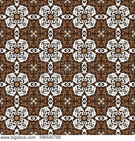 Seamless Blend White And Brown Color On Fabric Parang Batik With Simple Motifs Design.