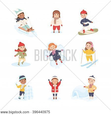 Children Enjoying Winter Fun Activities In Snow Sledging, Skiing, Ice Skating Vector Set
