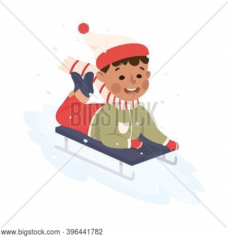 Excited Boy In Warm Clothing Sledging Or Sledding Downhill Vector Illustration