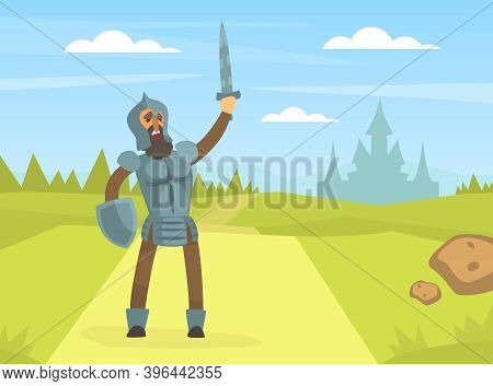 Medieval Knight Warrior In Full Armour Standing On Nature Landscape With Rised Sword Cartoon Vector