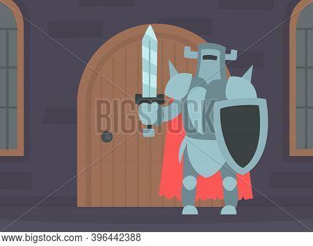 Medieval Knight Warrior In Full Body Armour In Medieval Castle Interior Cartoon Vector Illustration