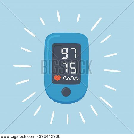 Pulse Oximeter With Normal Value. Digital Device To Measure Oxygen Saturation. Vector Illustration