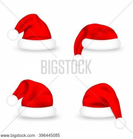 Set Of Santa Claus Hats. Realistic Red Santa Claus Caps On White Background. Cute Christmas Santa Ha