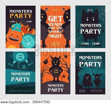 Creepy Monster Party Invitation Designs With Beasts. Stylish Spooky Night Invitations With Text. Cel