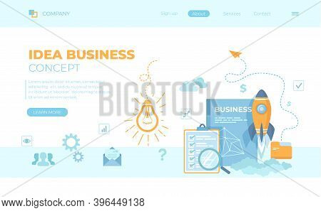 Idea Business Concept, Project Startup, Financial Planning, Strategy, Realization And Success. Light