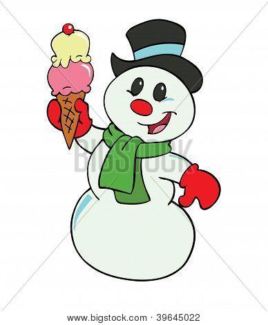 Snowman With Ice Cream