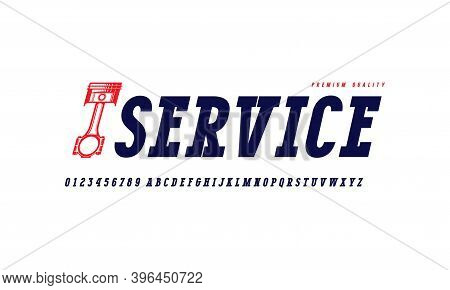 Oblique Serif Font In Classic Style. Letters And Numbers For Logo And Label Design. Isolated On Whit