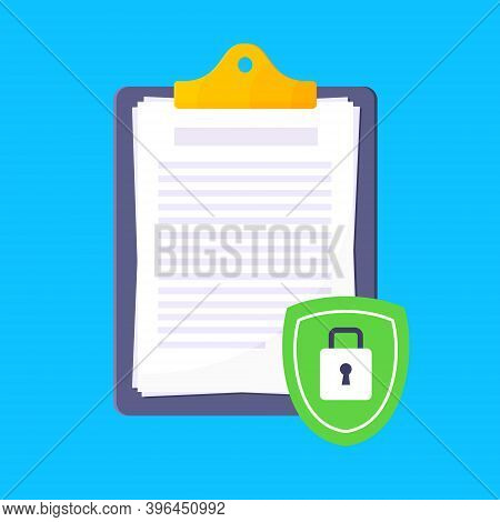 Privacy Policy, Safety Lock And Data Protection Metaphor. Shield With Padlock On The Clipboard With