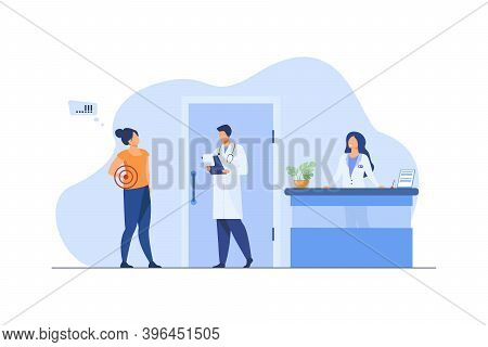 Woman Visiting Doctor With Spinal Pain. Hospital, Backache, Examination Flat Vector Illustration. Me