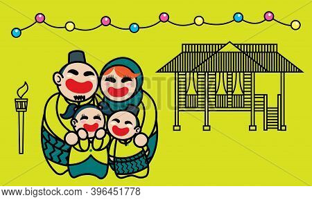 A Happy Muslim Family Celebrating Raya Festival. Background With Raya's Elements. Vector.