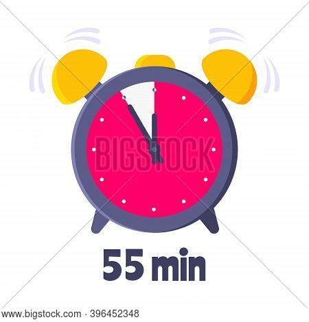 Fifty Five Minutes On Analog Clock Face Flat Style Design Vector Illustration Icon Sign Isolated On
