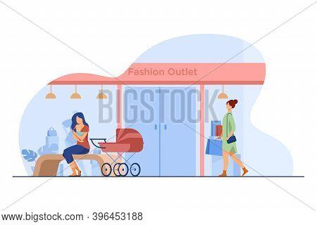 Mother Feeding Baby Near Fashion Outlet. Store, Pram, Shopping Flat Vector Illustration. Motherhood