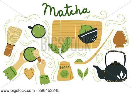 Big Hand Drawn Set Of Japanese Ceremony With Matcha. Hands Holding Tea Items. Various Matcha Tea Pro