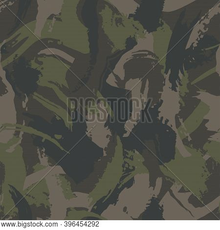 Grunge Camouflage, Seamless  Texture, Military Camo Pattern. Dry Brush Green Camo Clothes. Camouflag