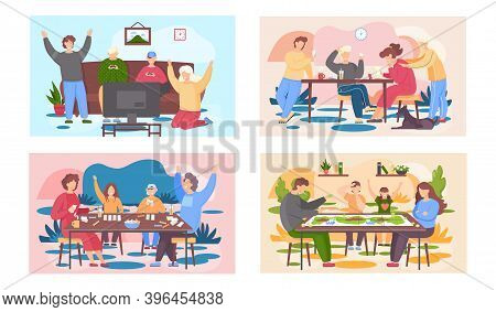 Family Members Playing Cards And Other Board Games Sitting At A Table, People Having Good Time Toget
