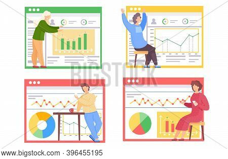 A Set Of Illustrations On The Topic Of Working With Data Graphs. People Play Games And Do Analytics.