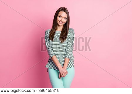 Photo Of Cute Shy Young Lady Look Camera Shiny Beaming Smile Hold Arms Wear Striped Shirt Isolated P