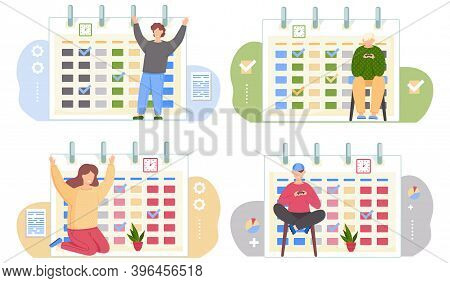 Set Of Illustrations On The Topic Of Timetables And Calendars. People Playing And Having Fun. Guy Si