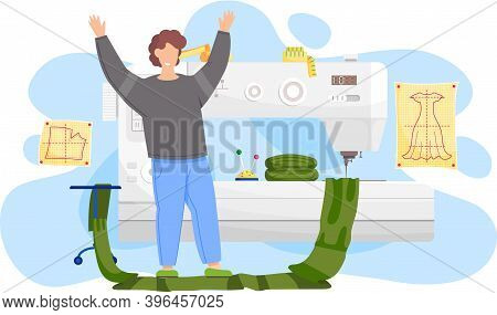 Happy Man Fashion Designer Is Making A Model, Standing Raised His Hands Near The Sewing Machine And