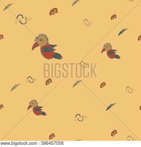 Pattern Depicting A Toucan, Its Silhouette, Flowers And Plant Leaves On A Champagne-colored Backgrou