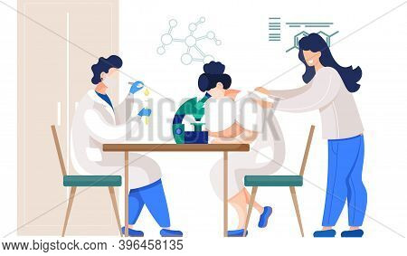 Professional Chemists In Their Laboratory Makes Different Experiments On The Table. Medical Workers