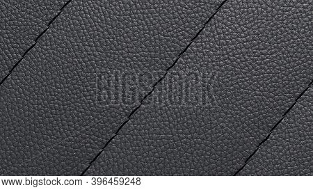 Bovine Coarse-grained Leather Background With Decorative Stitch On Top Of The Stitch. Black Leather